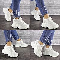 Женские стильные белые кроссовки на танкетке Penny 1673  эко-кожа сетка  Размер 36 - 23 см по стельке, обувь женская