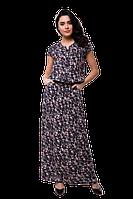Летнее длинное платье в пол прямого кроя с цветочным принтом D62S-3 синее