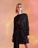 Платье вечернее черное с серебристым блеском