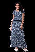 Летнее длинное платье в пол прямое с цветочным принтом D62S-5 голубое