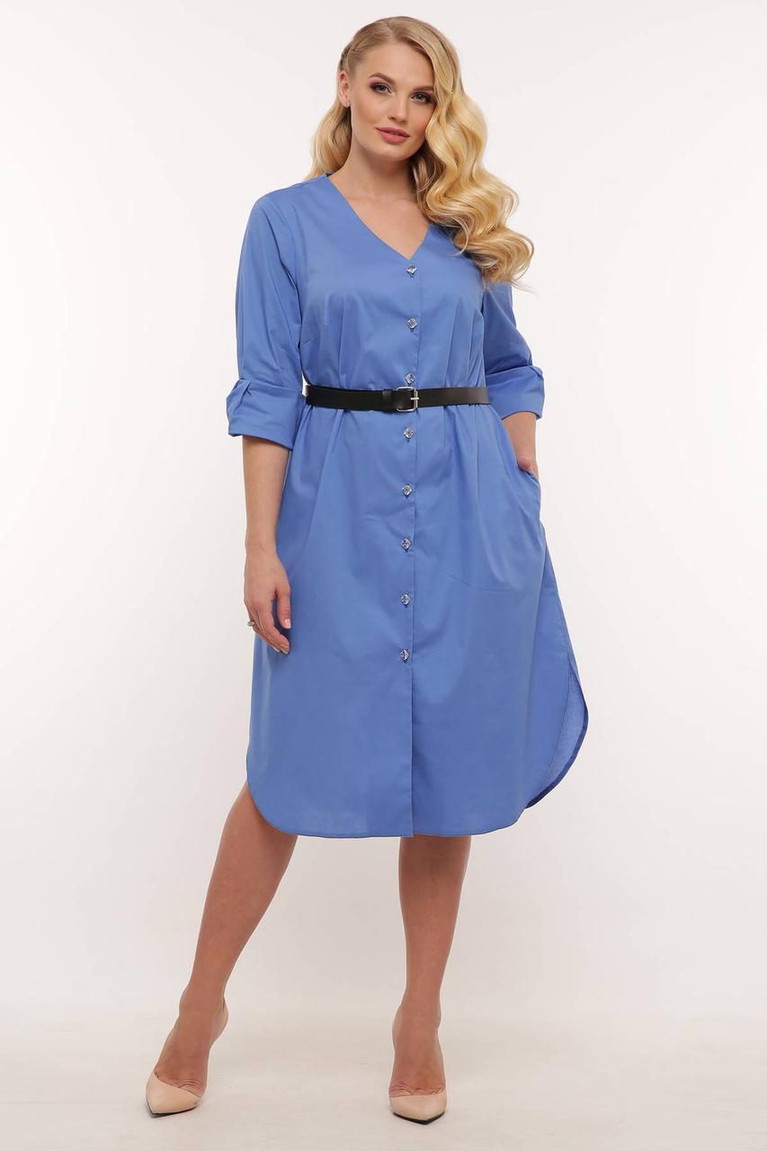 Женское платье-рубашка прямого силуэта с поясом в 3-х цветах   с 54 по 62 размер