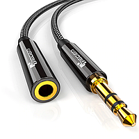 Удлинитель аудио кабель Tiegem Premium mini jack 3.5мм M - 3.5мм F, 1 метр Black