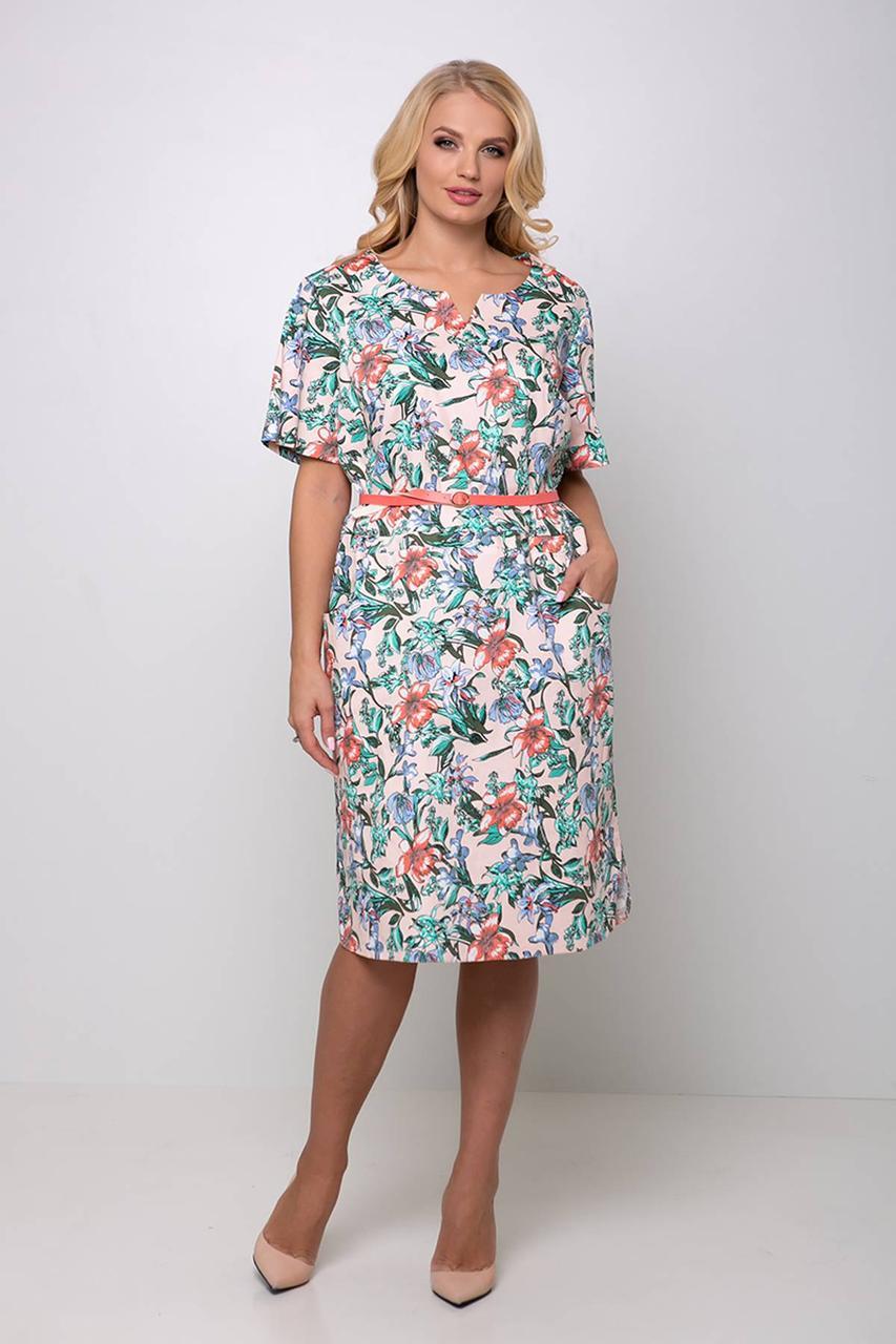 Женское прямое платье с карманами и пояском с 54 по 62 размер