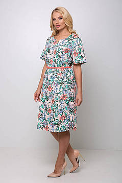 Женское прямое платье с карманами и пояском с 54 по 62 размер, фото 2