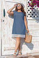 Женское джинсовое платье-трапеция с кружевом по низу размеры 50-56 арт 1044