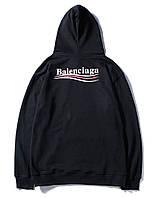 Худи Balenciaga топовый без утепления чёрный мужской женский толстовка с капюшоном баленсиага