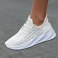 Кроссовки женские белые летние сетка модные популярные (Код: 1736)