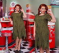 Нарядное женское платье по колено из итальянского кружева размеры батал 50-56 арт 15182