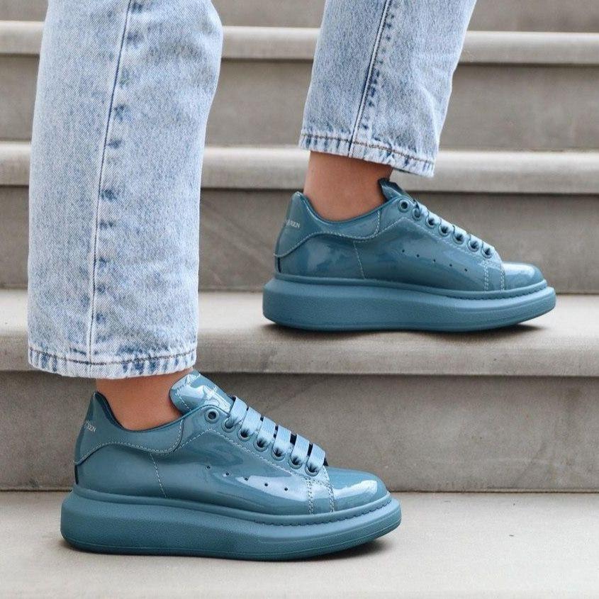 Женские кроссовки в стиле Alexander McQueen Moss Patent (люкс)