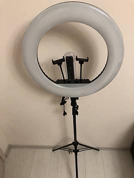 Профессиональная кольцевая LED лампа 54 cм  2Х  с штатив-треногой для косметологии 60 Ват высота 210 см