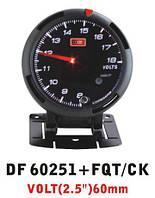 Defi 60251 DF+FQT/CK Вольтметр, с отсечкой, стрелочный диам.60мм.черный в корпусе