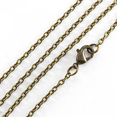 Основа Цепь для Ожерелья Monisto Железо Длина 45см Звено 3х2мм Цвет: Бронза 1шт