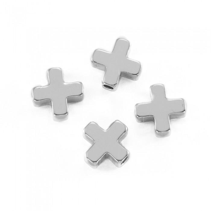 Бусины, Латунь, Крест, Цвет: Покрытие Платиной, Размер: 8х8х3мм, Отверстие 1.4мм/ Упак.: 2 шт