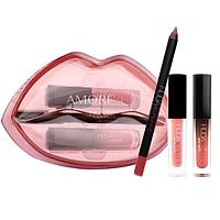 Набор для макияжа губ Huda Beauty Lip Contour & Liquid Matte (3 оттенка) In Bombshell Demi Matte In Mogul