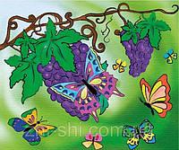 """Роспись по холсту для детей. """"Бархатные бабочки"""" 25х30см арт. 7106/2"""