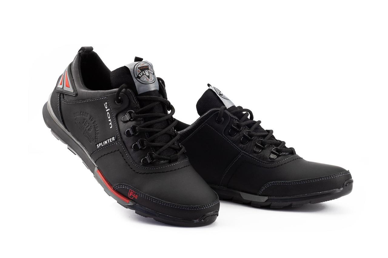 Мужские кроссовки кожаные весна/осень черные Splinter Biom 9816