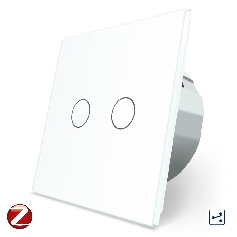 Сенсорный проходной Wi-Fi выключатель Livolo ZigBee 2 канала белый стекло (VL-C702SZ-11)