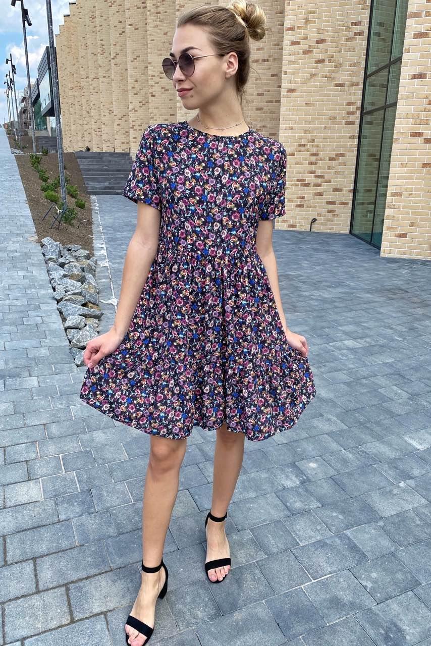 Цветочное летнее платье с сочным принтом  Clew - синий цвет, M (есть размеры)