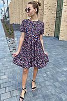 Цветочное летнее платье с сочным принтом  Clew - синий цвет, M (есть размеры), фото 1