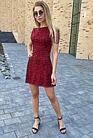 Игривое платье мини с трендовым принтом  Clew - красный цвет, M (есть размеры), фото 1