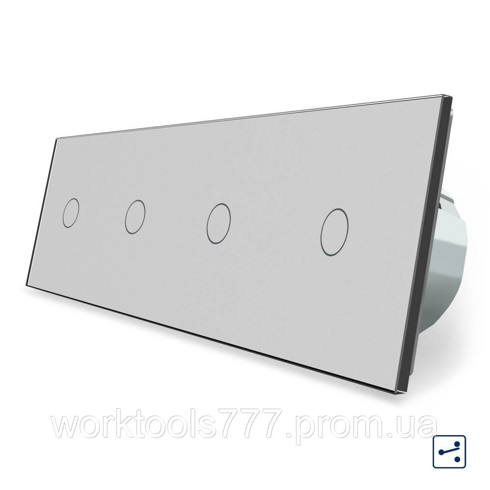 Сенсорный проходной выключатель Livolo 4 канала (1-1-1-1) серый стекло (VL-C704S-15)