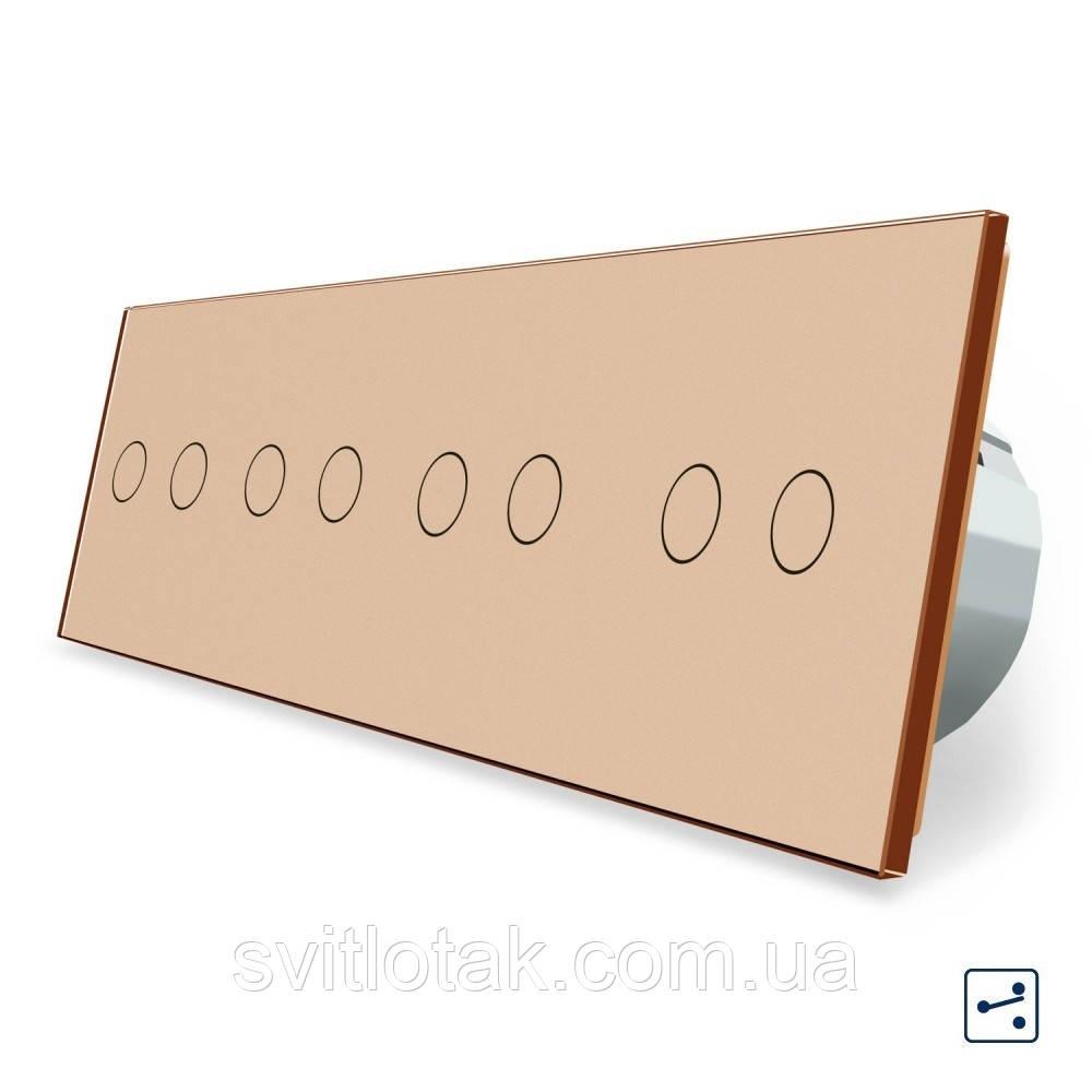 Сенсорний прохідний вимикач Livolo 8 каналів (2-2-2-2) золото скло (VL-C708S-13)