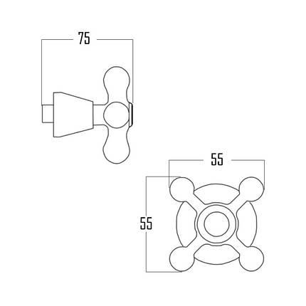 "Кран-букса Q-tap Classic M12K CRM гума 1/2"" з ручкою Mayfair (пара), фото 2"