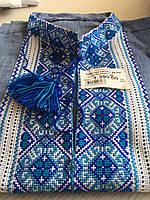 Вишиванка на синьому льоні чоловіча ручної роботи довгий рукав комір 42