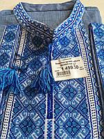 Вишиванка на синьому льоні чоловіча ручної роботи довгий рукав розмір 52-54