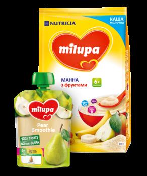 Каша Milupa манная с фруктами для детей от 6-ти месяцев 210 г + детское пюре Milupa груша 80 г (бесплатно)