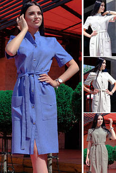 Стильное льняное платье Конкор