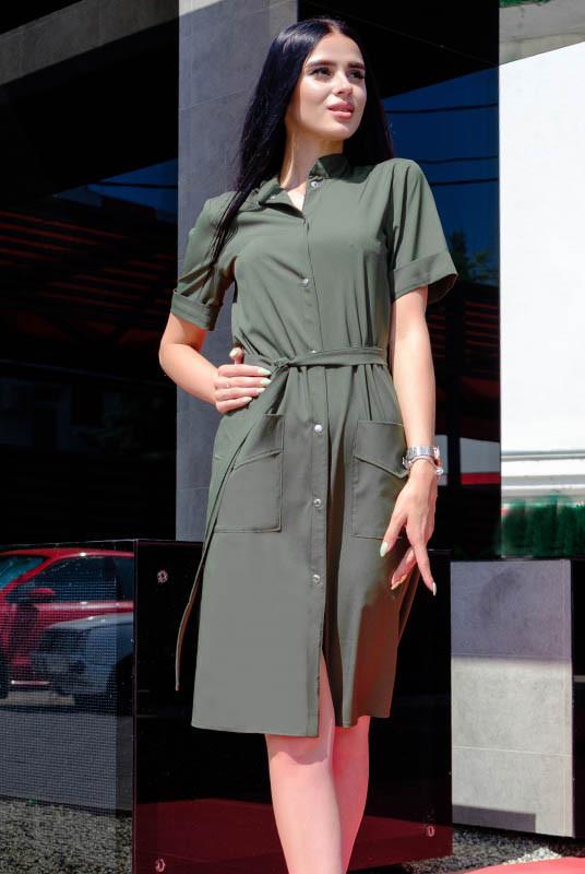 Стильное платье на кнопках Конкор софт, хаки