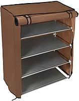 Тканевый шкафчик для обуви на 4 яруса Цвет - кофейный - тканевая тумбочка (полочка-подставка) под обувь (ST)