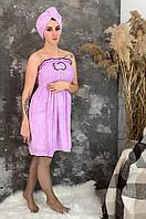 Халат + тюрбан банный сиреневый размер 44-46 ACS 01-100