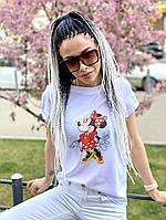 Женская белая футболка с рисунком, фото 1
