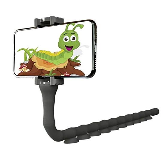 Гнучкий тримач для телефону з присосками універсальний Cute Worm Lazy Holder чорний