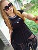 Спортивное молодежное платье  с сеткой от груди и накаткой Fendi,турецкий трикотаж, 48-52/44-48/, фото 3