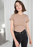 Женская однотонная футболка из хлопка, фото 1