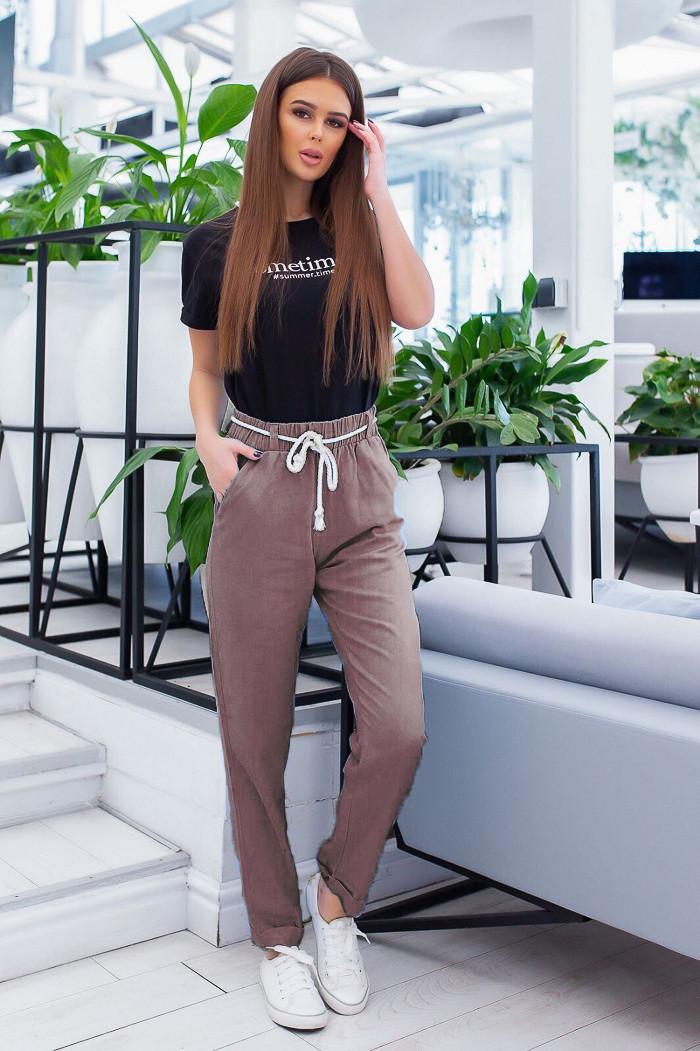 19800-05 мокко брюки женские из льна не тянутся (42-46, 4 ед.)