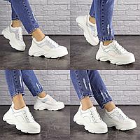 Женские белые кроссовки Cyber 1662 Эко-кожа  Размер 40 - 25 см по стельке, обувь женская
