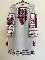 Сукня вишита підліткова для дівчинки 9-12 років ручної роботи сірий льон
