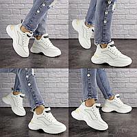 Женские белые кроссовки Hoppy 1631 Эко-кожа  Размер 39 - 24 см по стельке, обувь женская