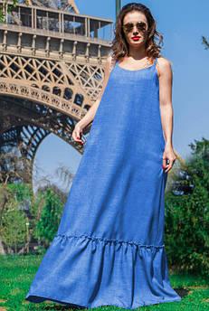 Блакитний жіночий сарафан Мірель льон