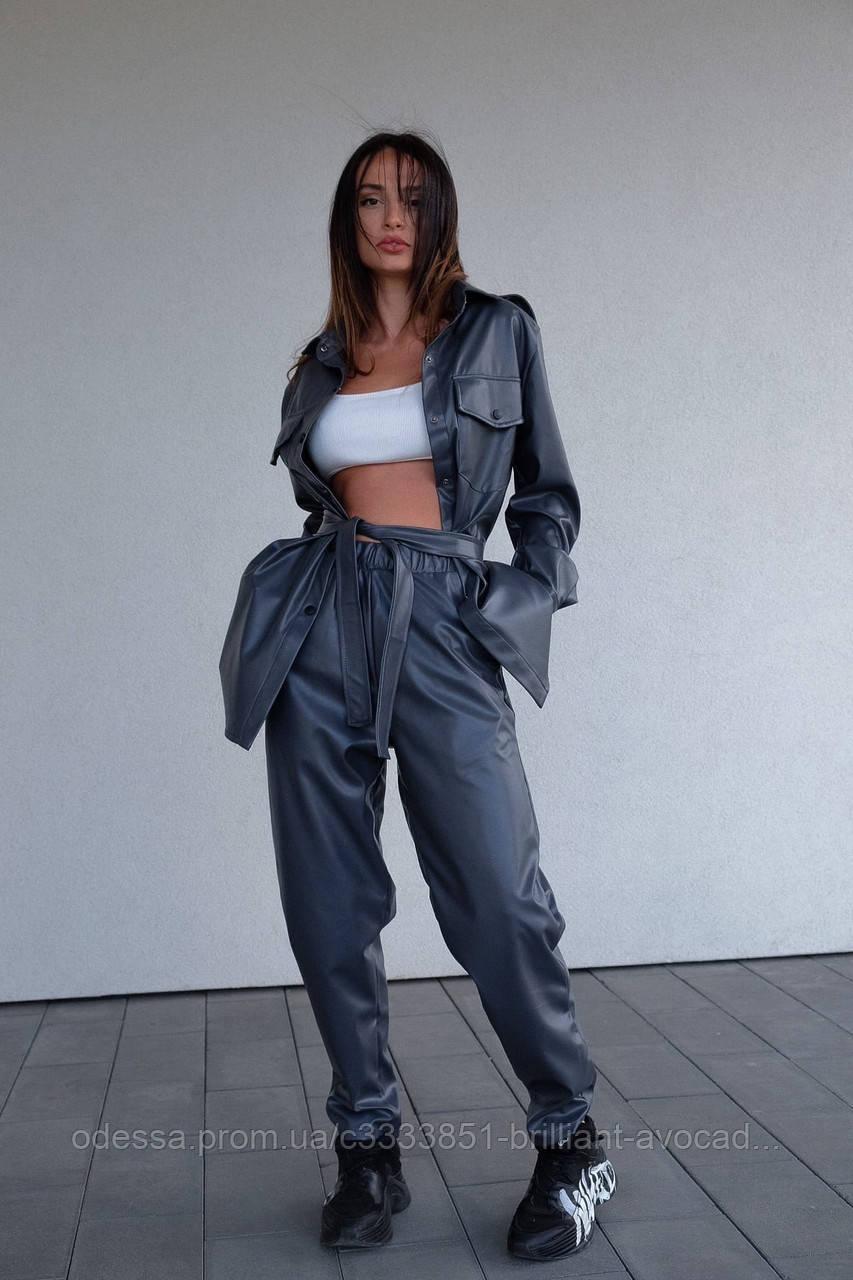 Модный кожаный женский костюм 2020