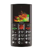 Кнопочный телефон бабушкофон с громким динамиком и кнопкой сос Sigma Comfort 50 SOLO DS Black