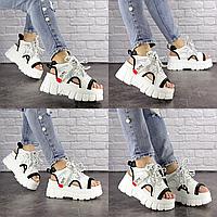 Женские стильные белые босоножки Sabella 1542 Эко-кожа  Размер 39 - 24,5 см по стельке, обувь женская