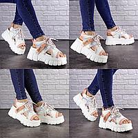 Женские стильные белые с пудрой босоножки Sabella 1573 Эко-кожа  Размер 41 - 25,5 см по стельке, обувь женская