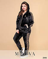 Велюровый спортивный костюм с леопардовыми вставками, размер от 50 до 62