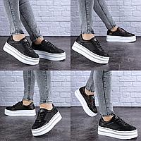 Женские черные кожаные кроссовки Erly 1717 Размер 37 - 23,5 см по стельке, обувь женская