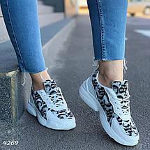 Кроссовки женские белые с черными узорами комби, фото 2